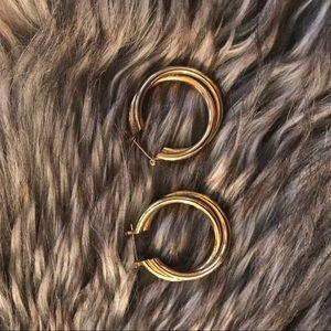 Yellow gold vintage double hooped earrings